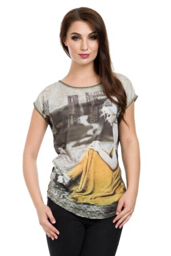 Womens Basic T-Shirt Large Print Retro Style Grunge Top with Graphics 8-12 FB340