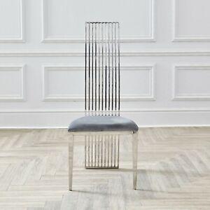 Dining Chairs Grey Velvet Seat Silver Chrome Retro Modern Tall High Back Linear Ebay