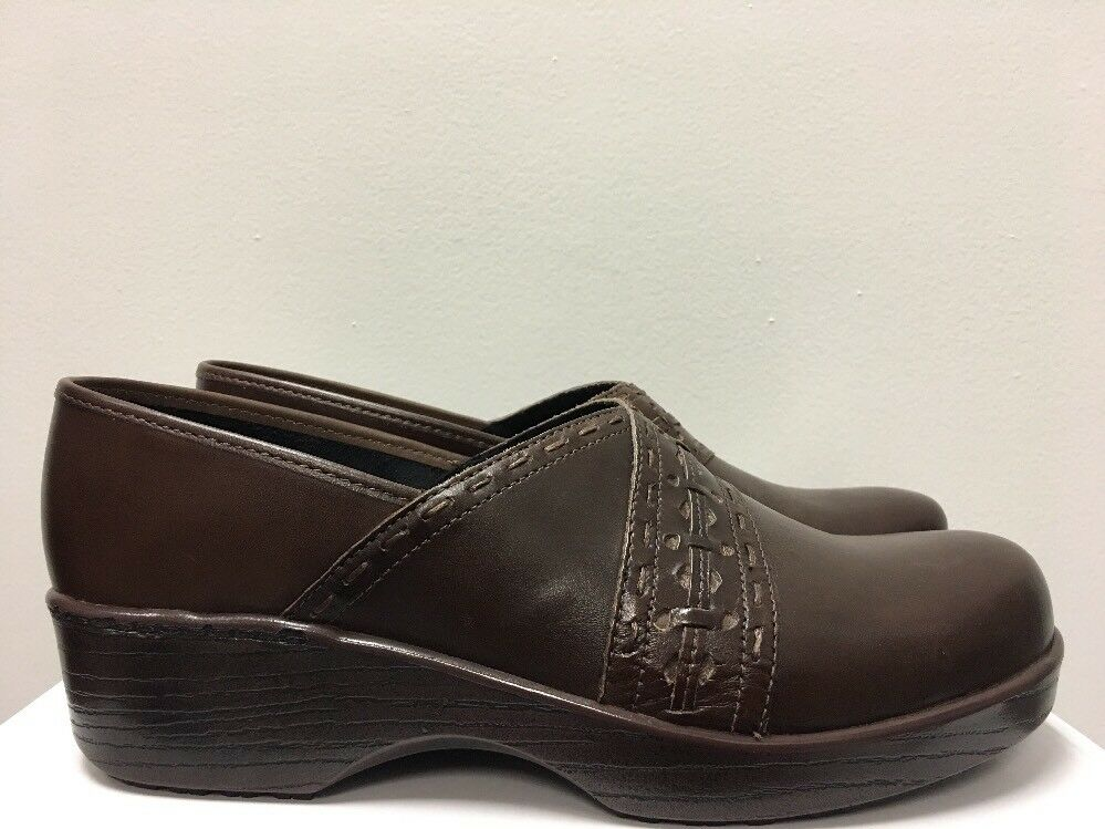 New - Women's Abeo Femi Brown Leather Clogs Size 9 Neutral Footbed