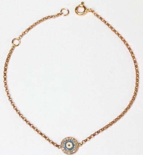 Dia. 0.08cts 14k Rose,Yellow or White Gold Evil Eye Bracelet with Diamonds