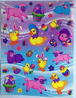 Lisa Frank Easter Stickers Vintage Lot of 4 Sheets Duck Lamb Egg Chick