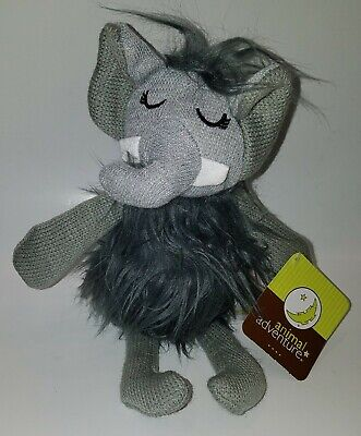 NWT Animal Adventure Gray Elephant Plush Pink Knit Rattle Stuffed Baby Lovey Toy