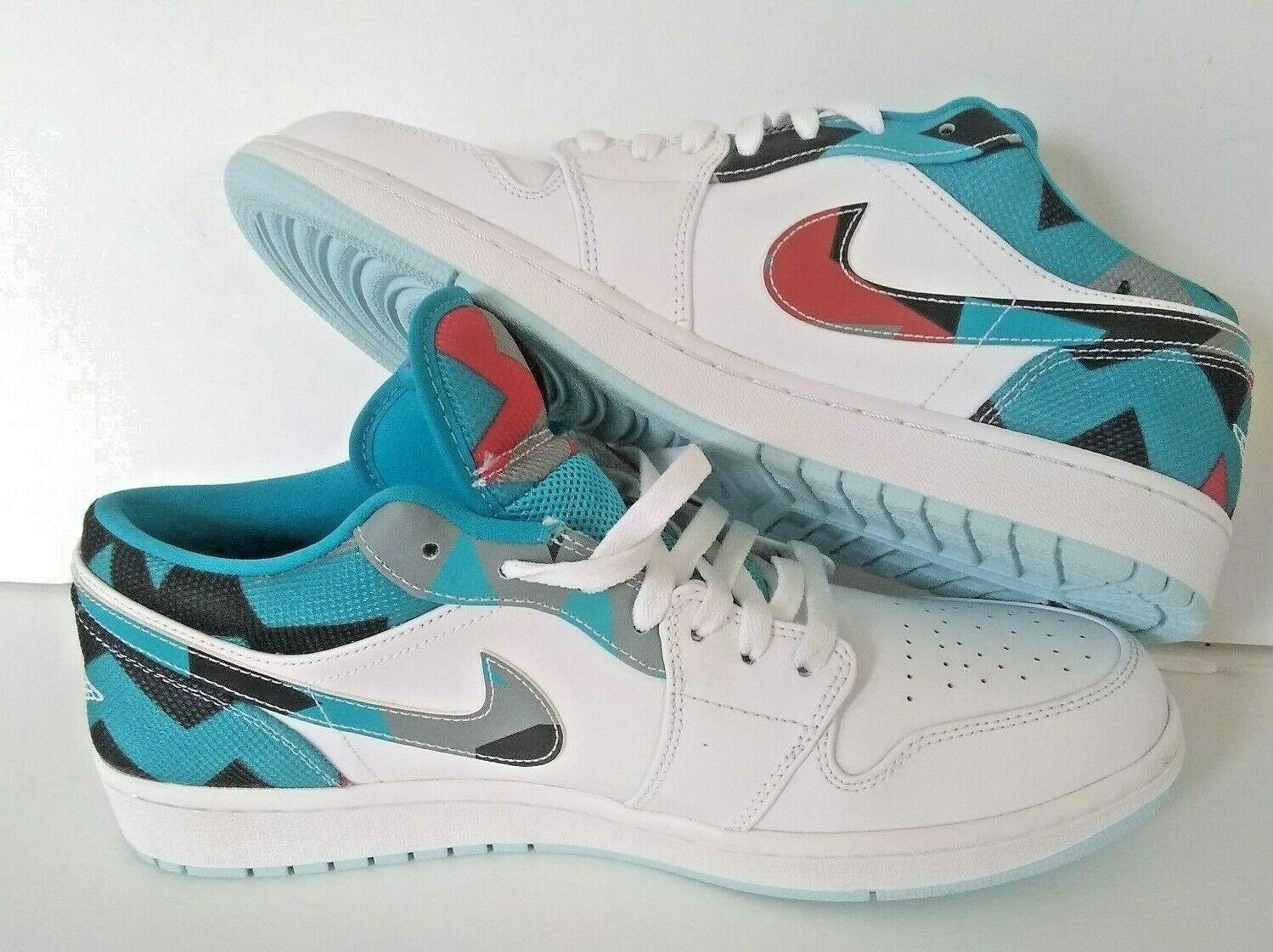 NEW Nike Air Jordan 1 Low N7 White Black Black Black Turquoise-Ice bluee Size 13 744805-100 b22b86