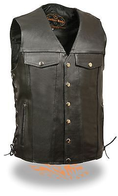 """Mens /""""TALL VERSION/"""" Classic Four Snap Cowhide Leather Motorcycle Vest for Bikers"""