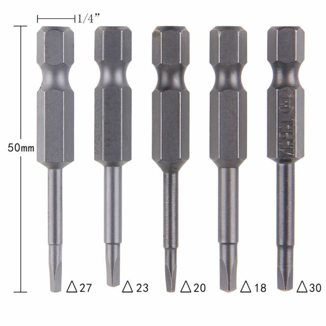 5 Pcs /Set Magnetic Triangle Head Screwdriver Bits S2 Steel 1/4 Hex Shank 50mm