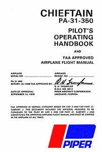 piper pa 31 350 chieftain pilot s operating handbook turbo rh ebay com au Piper Navajo Chieftain Airplane Piper Navajo Model