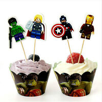 12x LEGO AVENGERS Children Brithday Cupcake Cake Wrapper & Toppers *NEW*