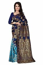 Navy blue Banarasi Silk Saree With Unstitched Blouse Piece -2557