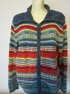 vtg-HEIRLOOM-COLLECTIBLES-ZIP-SWEATER-isle-ugly-cardigan-xmas-nordic-red-hipster