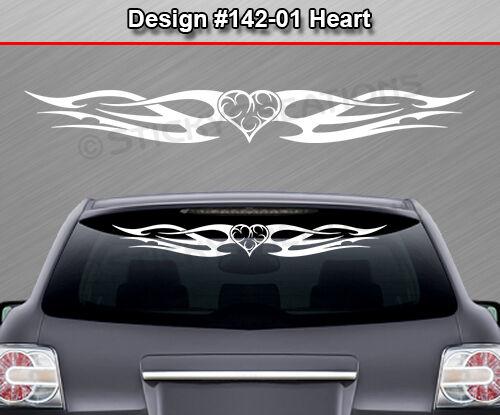 #142-01 HEART Tribal Flame Windshield Decal Window Sticker Vinyl Graphic Design