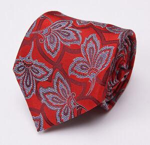 New $205 ERMENEGILDO ZEGNA Silk Tie Red-Blue Intricate Woven Floral Pattern