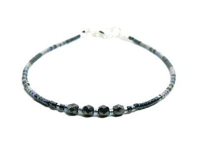 Anklet Slim Dark Grey /& Silver Seed Bead Surfer Stacking Friendship Bracelet