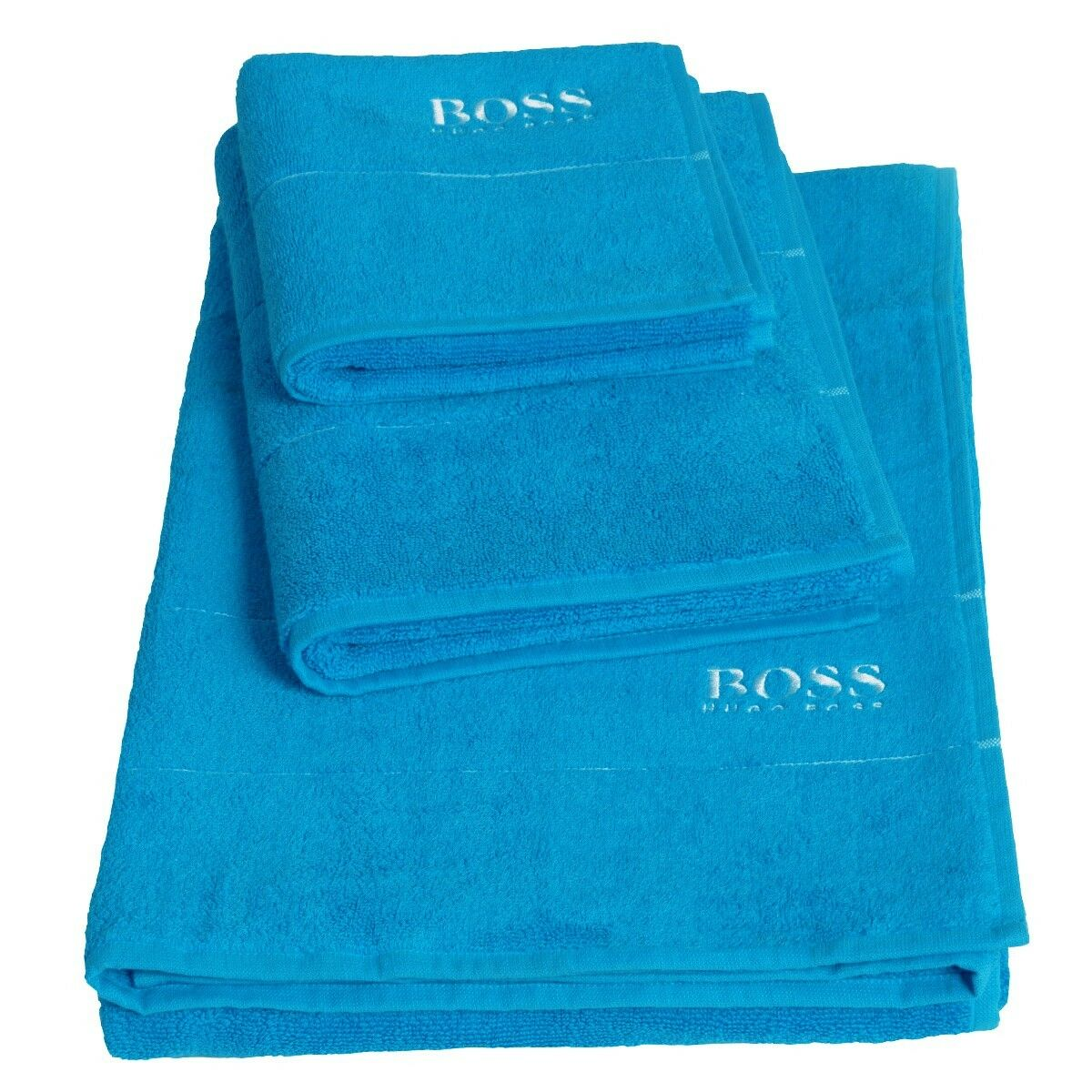 Hugo Boss Plain Bath Sheet, Pool - Set of 2