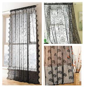 Image Is Loading Black Slot Top Vintage Lace Window Panels Net