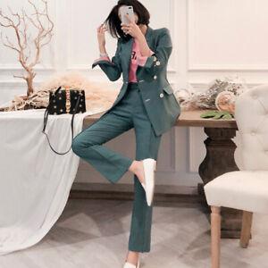 premium selection cc912 03d9a Dettagli su Tailleur completo donna verde giacca manica lunga e pantalone  slim elegante 4859
