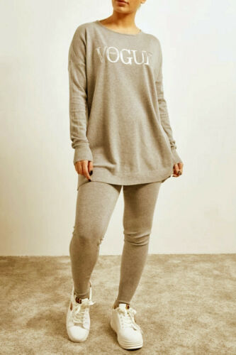 Womens Faux Fur Pearls Long Sleeves 2pcs Tracksuits Top Jumper Sweatpant