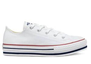 Scarpe donna Converse all star 668028C sneaker basse platform chuck tela bianche