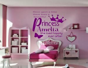 Détails sur Pink Girl Personnalisé Chambre Princesse Chambre Mur Art  Autocollant Vinyle Autocollant V128- afficher le titre d\'origine
