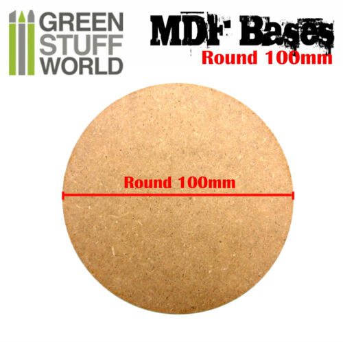2x MDF Bases Round 100mm Thickness 3mm Basing Laser Cut Wargames Miniatures