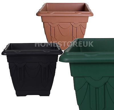 SQUARE VENETIAN PLASTIC PLANT PLANTER FLOWER DEEP POT BASKET BOX GARDEN OUTDOOR