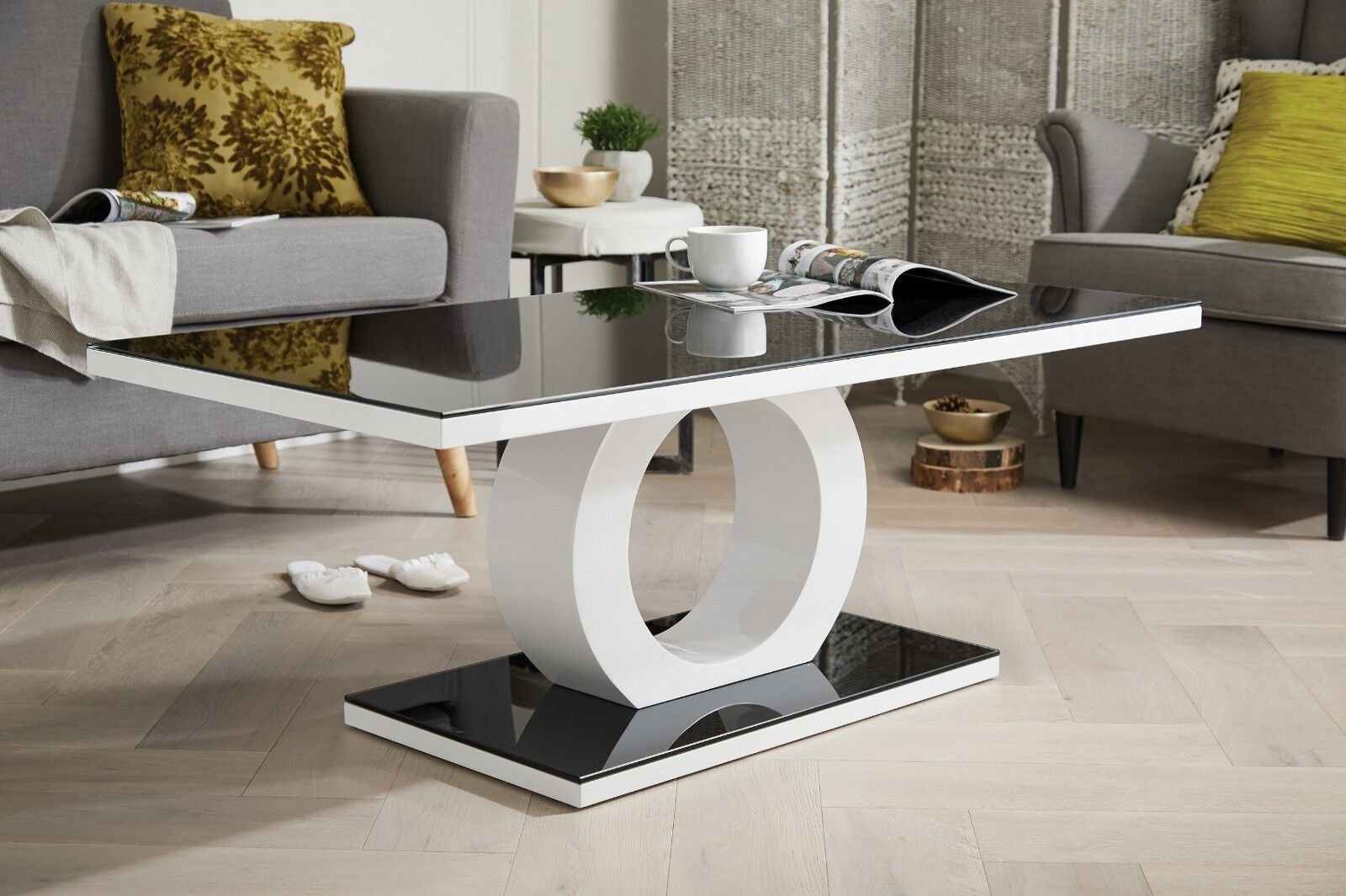 Giovani Designer Halo Black White High Gloss Glass Coffee Table Modern Furniture Ebay