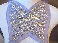 8 Bead & Sequin Huge Jewels Bodice Neckline Applique - Purple