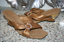 ONEX SANDALS SIZE 37/6.5-7 GOLD WEDGE HEELS BLING LEATHER