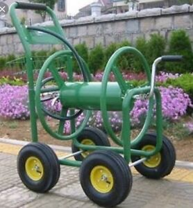 Garden Hose Cart Trolley Reel Powder Coated Steel hold 100M Free