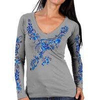 Ladies Long Sleeve Blue Floral Top Motorcycle Biker Womens Grey V-neck T-shirt