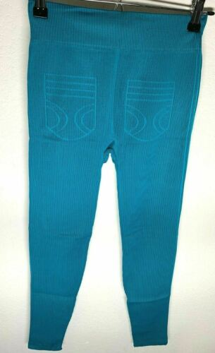 ShoSho Women/'s Blue Green Stretchable Leggings With Black Stripes One Size