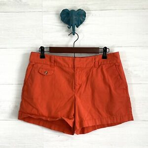 LOFT-SZ-8-Orange-Flat-Front-Chino-4-034-Inseam-Casual-Walking-Shorts-Womens