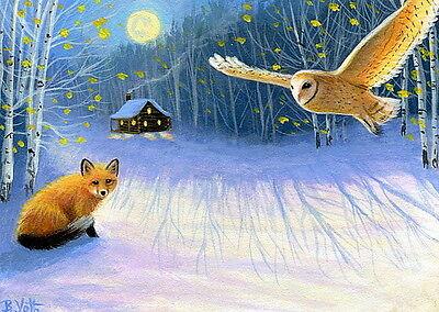 Red fox barn owl cabin winter moon shadows wildlife OE aceo print art