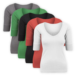 Womens-Ladies-V-Neck-Jersey-Top-Half-Sleeve-Stretch-Cotton-Casual-Solid-T-Shirt