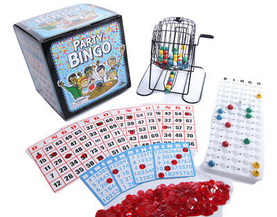 Jumbo Bingo Game 100 Cards 500 Chips Cage Balls Board Set Family Party Fun Toys