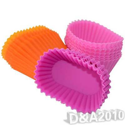 10X Oval Pudding Puff Biscuit Maker Muffin Cup Cake Silicone Baking Mold Mould
