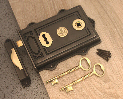 Victorian Style Antique Cast Iron /& Brass Door Rim Lock Floral Design