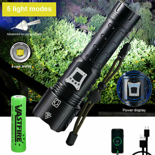 XHP160 //100//90//70.2 Ultra Bright LED USB Rechargeable Zoomable Torch Flashlight
