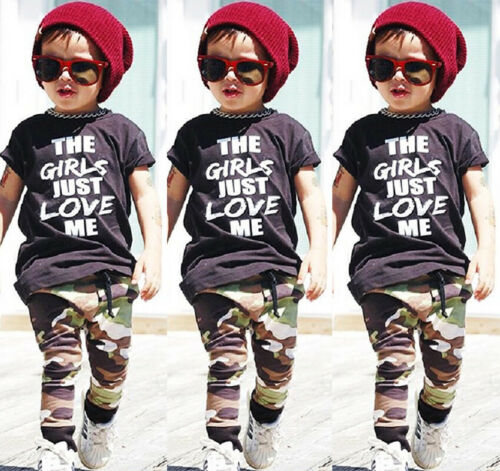 Casual Toddler Kids Boys Summer Tops T-shirt Camo Pants Outfits Set Clothes