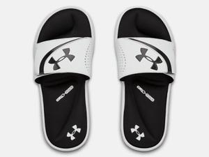 Under Armour Boys UA Ignite V Slides - Black/White, US 5