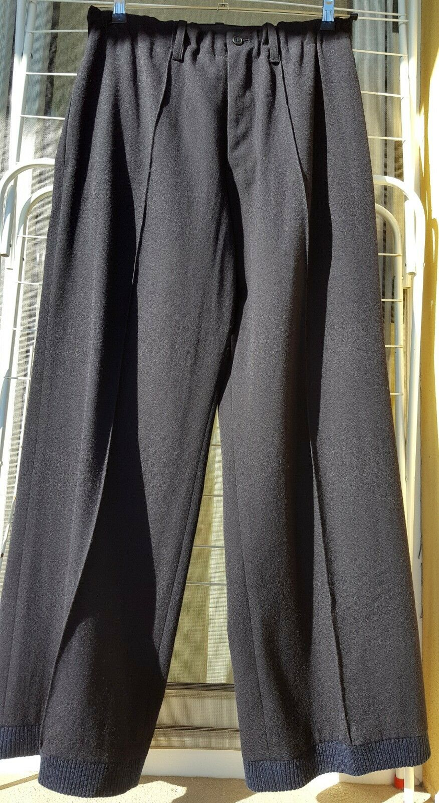 YOHJI YAMAMOTO blue Hose mit Rippbündchen Größe 2 Hem Rib Pants