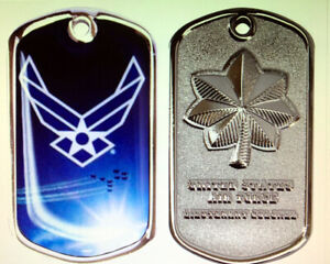 Details about LT COLONEL DOG TAG CHALLENGE COIN USAF US AIR FORCE PIN UP 06  RANK PROMOTION