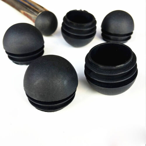Domed Round Plastic Black Blanking End Caps Tube Pipe Inserts Plug 19 22 25 32mm