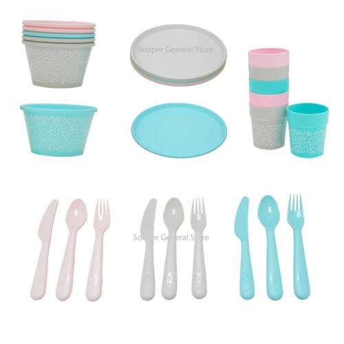 Ikea sommar plastic 36 Pcs cutlery set Plates Mugs Glasses spoons knives forks