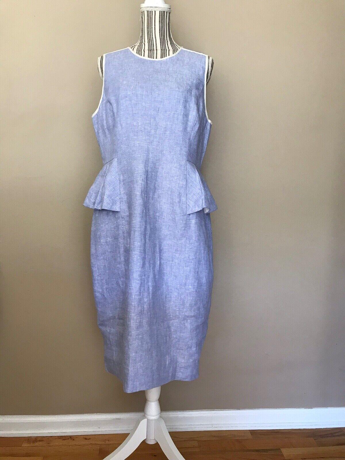 J. Crew woman's Light Blue Linen Peplum A Line Dress fully lined Size 12 NWT