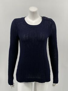 Talbots-Women-039-s-Pullover-Sweater-XS-Navy-Lambswool-Blend-Long-Sleeves-Knit