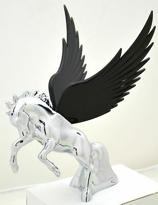Hood Ornament Flying Stallion Chrome w// BLUE Windrider WINGS Peterbilt KW FL