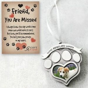 Who Rescued Who Rescue Pet Memorial Photo Frame Paw Print Ornament