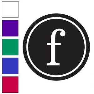 Typewriter Font F Initial Decal Sticker Choose Color + Size