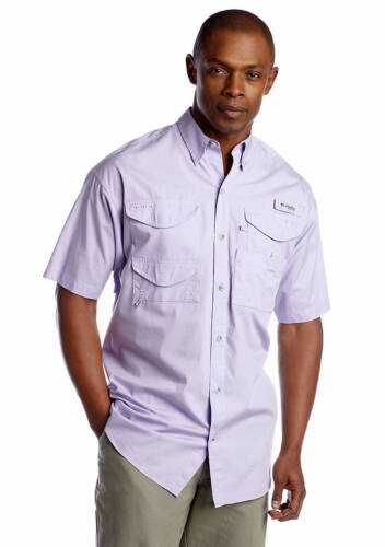 Columbia PFG Homme crétine shirt à manches courtes blanche violet grande taille X-Large L//XL