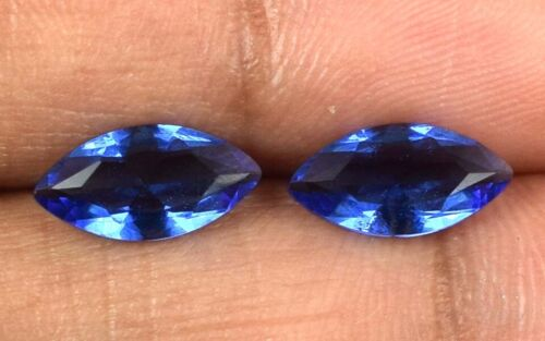 Natural Marquise Cut 1.50 Ct Blue Sapphire Gemstone Matching Pair AGSL Certified